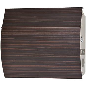 LEON (レオン) MB4801 郵便ポスト 壁掛けタイプ ステンレス製 鍵付き おしゃれ 大型 ポスト 郵便受け (マグネット付き) (MAIL BOXシート無し) 木目調エボニーウッド