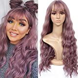 HUA MIAN LI Long Wavy Wig With Air Bangs Silky Full Heat Resistant Synthetic Wig for Women - Natural Looking Machine Made Grey Pink 26 inch Wig for Party Cosplay Body Wavy Pink