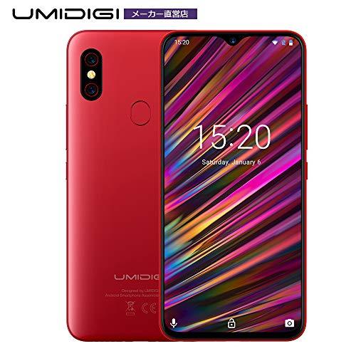 UMIDIGI F1 SIMフリースマートフォン Android 9.0 6.3インチ FHD+ 大画面 ノッチ付きディスプレイ 128GB ROM + 4GB RAM Helio P60オクタコア 5150mAh大容量バッテリー 18W高速充電 16MP+8MPデュアルリアカメラ 技適認証済み 顔認証 指紋認証 au不可 (レッド)