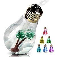 Hoperty 加湿器 卓上加湿器 USB 超音波式 大容量 400ml 加湿器 電球型 LED搭載7色変換 静か 花粉症 花粉対策に 乾燥防止 空焚き防止 オフィス用 会社 家庭用 (ゴールド)