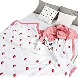 """J-pinno Cute Strawberry Pink Printed Quilted Comforter Twin for Kids Girls Bedding (Twin 59"""" X 78"""", 20)"""