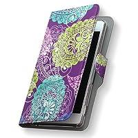 Xperia XZs SOV35 ケース カバー 手帳 スマコレ 手帳型 レザー 手帳タイプ 革 スマホケース スマホカバー エクスペリア XZs ラブリー フラワー 004667 Sony ソニー au エーユー ペイズリー 紫 sov35-004667-nb