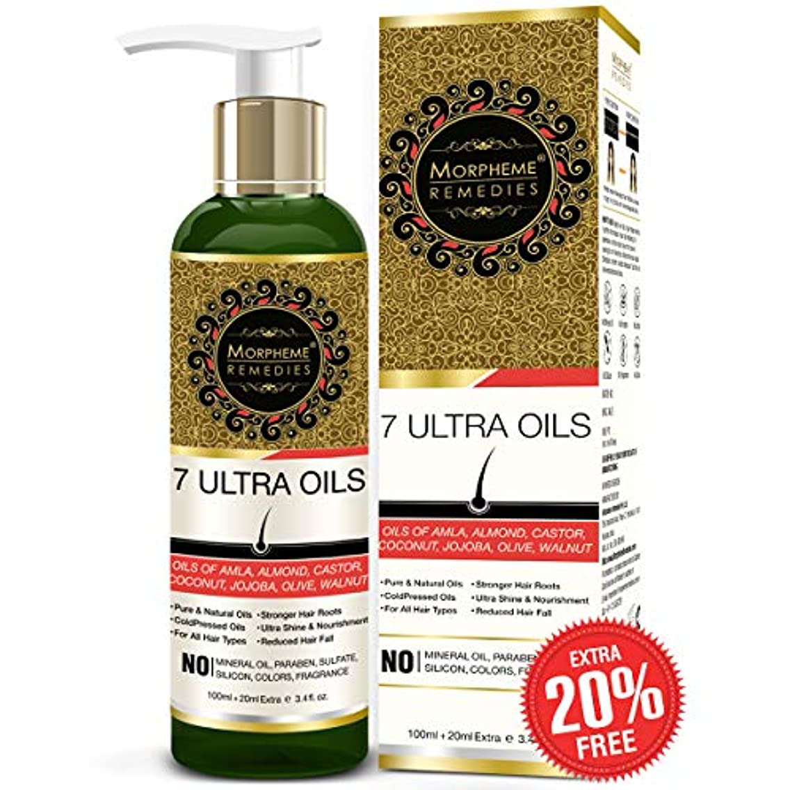 筋ベルトスポンジMorpheme Remedies 7 Ultra Hair Oil - (Almond, Castor, Jojoba, Coconut, Olive, Walnut, Amla Oils) - 120 ml
