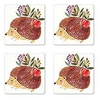 動物コースターセットの4つのby Ambesonne、かわいい手描き図の可愛いハリネズミと花で水彩画、正方形ハードボードグロスコースターfor Drinks、マルチカラー