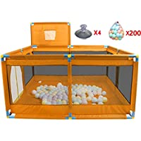 ポータブルPlayardベビーチャイルド子供バスケットボールのフープとボールで折り畳み式の遊び場を再生するPen Room Divider Oxford Cloth 8サイドパネル、オレンジ (色 : 200 Balls)