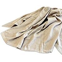【乾きやすい】 麻混 タオルケット シングルサイズ ベージュ(140×190cm)