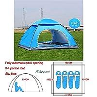 自動ポップアップアウトドアファミリーキャンプのテント1つの2 3 4人複数モデルイージーオープンキャンプテントウルトラライトインスタントシェード ZASUBC (Color : Blue 3 4 man)