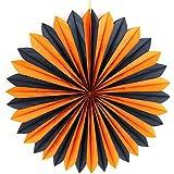 SUNBEAUTY 「5個セット」 すぐ使える ペーパーファン クリスマス 結婚式場 誕生日会 装飾用の扇子 欧米風 インテリア パーティーの飾り付け (黒+オレンジ)