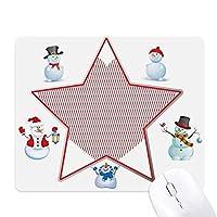 平行線のバレンタインデー・レッド クリスマス・雪人家族ゴムのマウスパッド