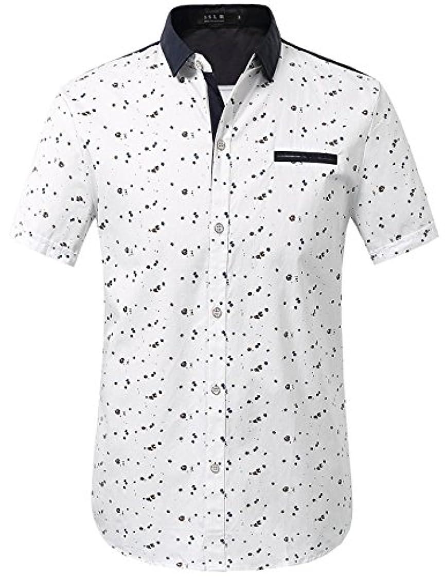 みすぼらしい対話スピーカーSSLRメンズ印刷パターンボタンダウンカジュアル半袖シャツ