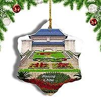 Weekino中国日ヤッセンMa南京クリスマスオーナメントクリスマスツリーペンダントデコレーション旅行お土産コレクション陶器両面デザイン3インチ