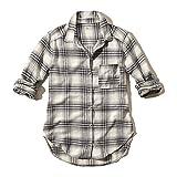 【Hollister Co】 ホリスター レディース / 薄手 長袖 フランネルシャツ / ホワイト チェック 【S】 【Plaid Flannel Shirt】 並行輸入品