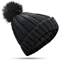 MUCO ニット帽 レディース 手編み ニットキャップ ポンポン ふわふわ 暖かい 防寒 フリーサイズ 秋冬  おしゃれ プレゼント