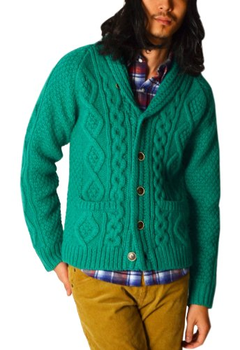 Shawl Collar 3-gauge Aran Cardigan 116-45-0099: Green