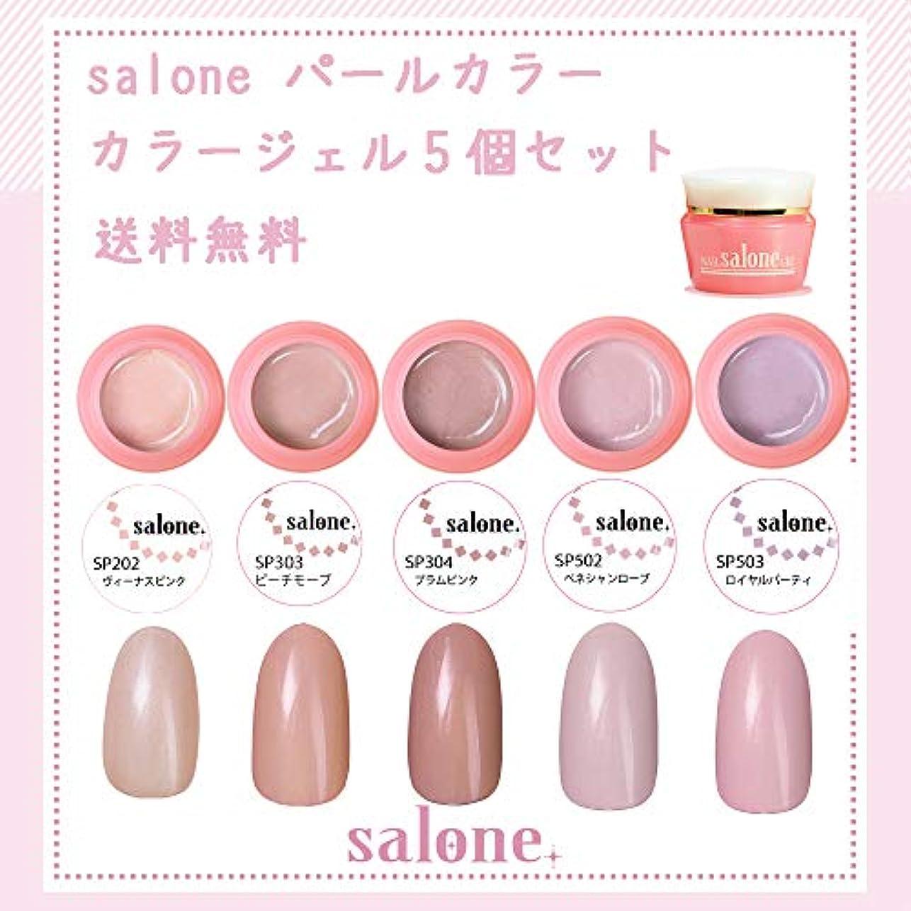 気づくなるグラマー統合する【送料無料 日本製】Salone パールカラー カラージェル5個セット アンニュイなパールカラー