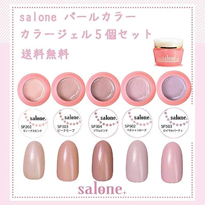 面スパイ流出【送料無料 日本製】Salone パールカラー カラージェル5個セット アンニュイなパールカラー