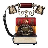電話ビンテージ工芸品の土地線ホームロータリーダイヤル電話機械的な着信音の固定電話25 * 16 * 24センチメートル (色 : B)