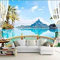 Xbwy 3D壁紙現代の海辺の景色バルコニー自然風景写真壁画壁画リビングルーム寝室の家の装飾壁画壁画-280X200Cm