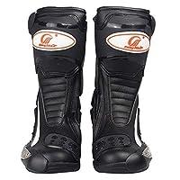 ライディングシューズ バイクブーツ レーシングブーツ バイク ブーツ ブラック ロング バイク ブーツ  バイク用靴 (43(26.5cm), ブラック)
