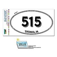 515 - titonka, IA - アイオワ州 - 楕円形市外局番ステッカー