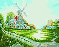 LoveTheFamily 数字油絵 数字キット塗り絵 手塗り DIY絵 デジタル油絵 風車農場 30x40cm ホーム オフィス装飾