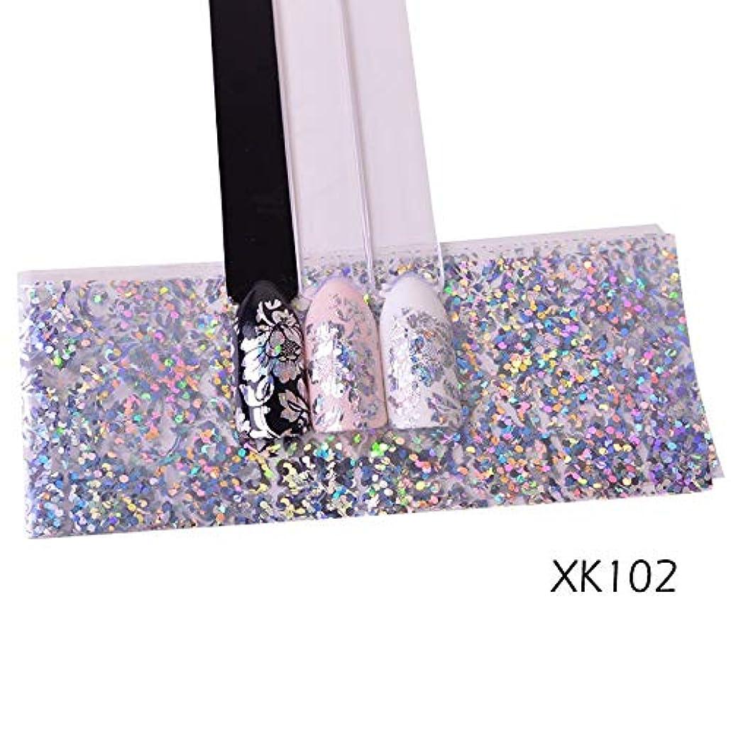 摩擦エキサイティングエンティティ100センチレーザーネイル箔ステッカーホログラフィック花光沢のあるデザイン星空転写紙マニキュアネイルアートの装飾SAXK98-109 XK102