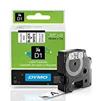 D1 Standard Tape Cartridge for Dymo Label Makers, 3/4in x 23ft, Black on White