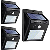 センサーライト 20LEDソーラーライト 屋外照明 改良版 Lifeholder 省エネ 防犯 ボタン付き 太陽光発電 外灯 玄関 駐車場 3個