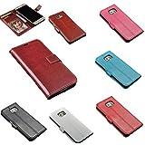 Galaxy S7 Edge Samsung 5.5インチ PUレザーケース カード収納付き 横開き スタンド機能 ストラップ付き 選べる6カラー (レッド Red)