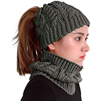 XYIYI Womens Infinity Scarf and Slouchy Knit Beanie Hats Matching Winter Set