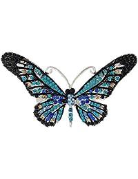 SKZKKレトロ蝶クリスタルブローチピン用女性コサージュスカーフクリップ昆虫亜鉛合金釉ギフト用女性かわいいピン