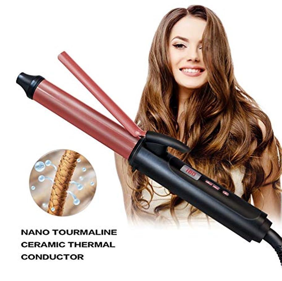 武装解除哲学的取り出す女性9mm多機能カーリングアイロンセットヘアカーラーセラミックコーティングバレルカーリングワンドデュアル電圧耐熱すべての髪