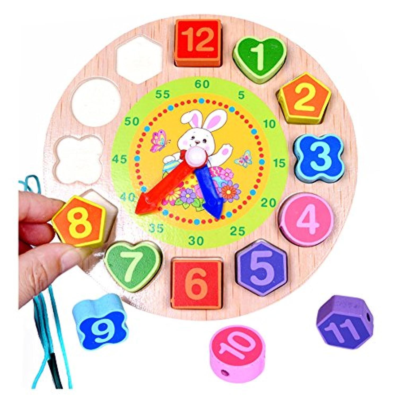 木製Teaching Time Clockおもちゃ、Shape Sortingゲーム学習数ツールLacing Beads教育パズルToy