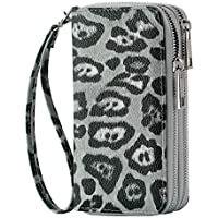 HAWEE Cellphone Wallet for Women Dual Zipper Long Purse with Removable Wristlet