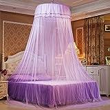 蚊帳 吊り下げ 天蓋 ベッド カーテン プリンセス お姫様 ロパンチック 虫除けに おしゃれ  (パープル)