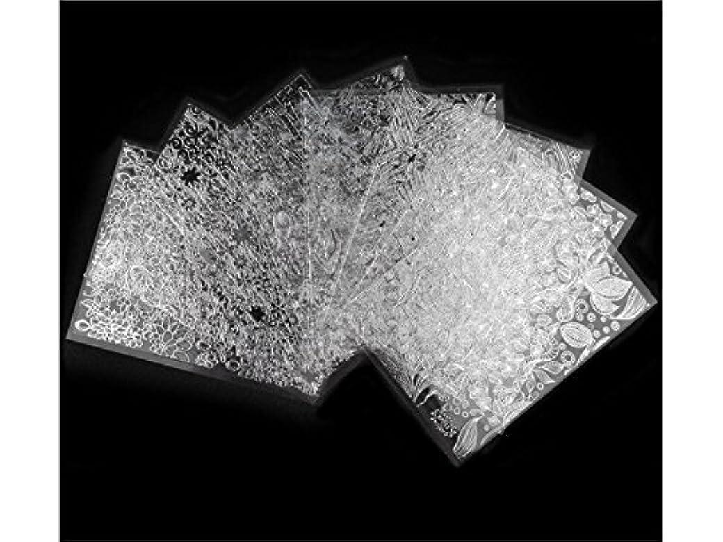 うなる確かに保育園Osize 8本/セットブラックレースデザインネイルアートステッカーデカールネイルチップデコレーションブラックレースフラワー転写箔ネイルアートセクシーなデザインステッカー(シルバー)