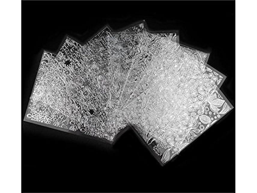 発動機コミュニティ費やすOsize 8本/セットブラックレースデザインネイルアートステッカーデカールネイルチップデコレーションブラックレースフラワー転写箔ネイルアートセクシーなデザインステッカー(シルバー)