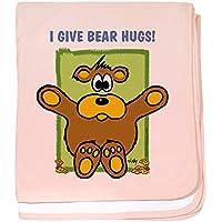 CafePress – 005 Bear Hugs – スーパーソフトベビー毛布、新生児おくるみ ピンク 06214575076832E