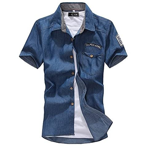 kimurea select メンズ ファッション 半袖 カジュアル ボタン シャツ カットソー ジャケット (XLサイズ, ダークブルー)