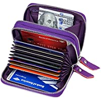 KALMORE Wallets for Women Genuine Leather Double Zipper RFID Blocking Purse with Coin Pocket, Cardholder and ID Window