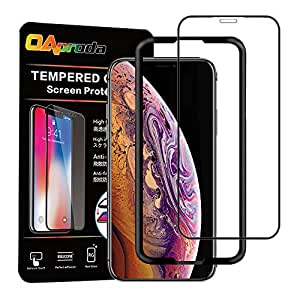 【改善版】OAproda iPhone XS Max 全面保護フィルム 強化液晶ガラス 全面フルカバー【全面保護/存在感ゼロ / 画面鮮やか高精細/貼り付け簡単 / 3D Touch対応 / 硬度9H / 気泡防止】iPhoneXS Max 用, ブラック(黒)