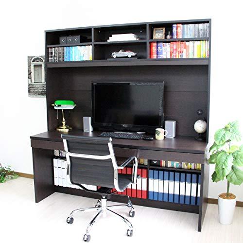 【予約販売11月上旬入荷予定】パソコンデスク システムデスク オフィスデスク 書斎 170cm幅 大型デスク 本棚付き ハイタイプ 2点セット J-Supply Ltd.(ジェイサプライ) ダークブラウン RP009-DBR