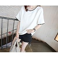 バイカラーパイピングシンプルマタニティTシャツ ホワイト(ts180574025)