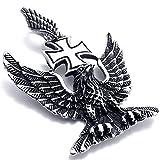 MFYS Jewelry ファッション メンズ ドイツ 第三帝国 鷹 アイアンクロス ステンレス ペンダント ネックレス カラー:シルバー(銀) (チェーン付)【ギフトBOX付】