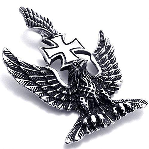 [해외]MFYS Jewelry 패션 남성 독일 제 3 제국 매 아이언 크로스 스테인리스 펜던트 목걸이 색상 : 실버 (은색) (체인 포함) 선물 BOX있는/MFYS Jewelry Fashion Men`s Germany Third Empire Hawk Iron Cross Stainless Steel Pendant Necklace Color: Sil...
