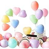 100個 カラフル風船 マカロン色 ハートバルーン 誕生日飾り付け バースデー バルーン 8色 10インチ 2.2g 空気入れ+結びクリップ+リボン+壁貼り両面シール付き 風船 誕生日 バースデーパーティー 飾り付けセット お祝い Ballon
