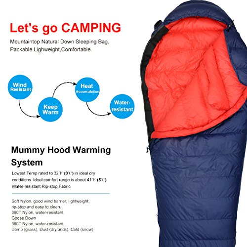 Mountaintop 寝袋 シュラフ サミット最低使用温度0℃ ミイラ 超軽量 グースダウンキャンプ ハイキング スリーピングバッグ 寝袋 シュラフ