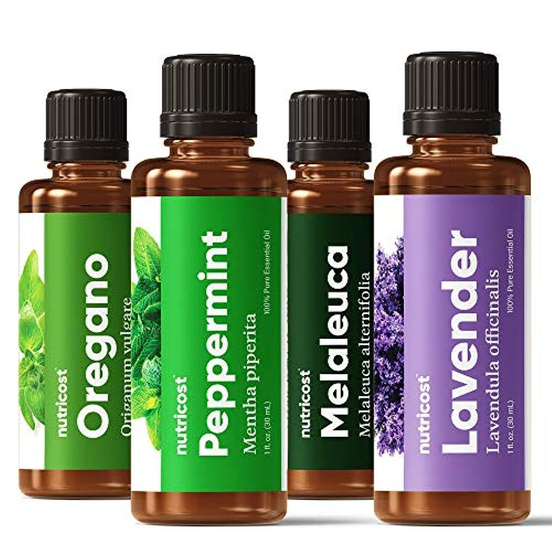 Nutricost エッセンシャルオイル 4本セット、ラベンダー、ペパーミント、ティーツリー、オレガノ