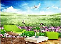 Bzbhart 3Dリビングルームのためのシルク壁画の 壁紙蝶の花草絵 壁の壁画の壁紙-400cmx280cm