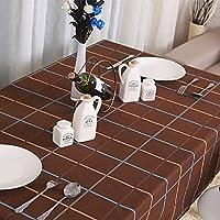Ipara テーブルクロス 食卓カバー 110*170 田園風 コーヒー色 格子縞プリント 綿製